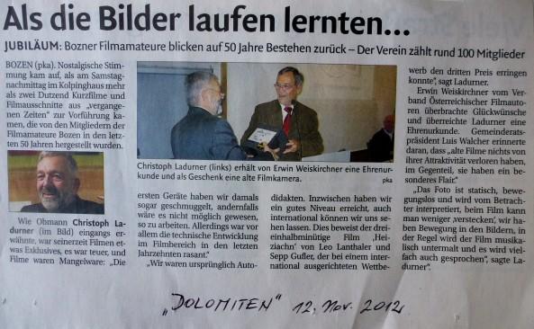 """50 Jahre FAB – Bericht in Tageszeitung """"Dolomiten"""""""